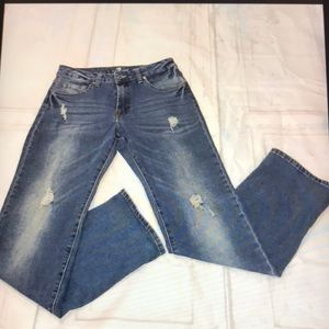 7 For All Mankind Flare Distressed Med Wash Jeans